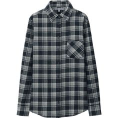 UNIQLO Women Flannel Check Long Sleeve Shirt (£14) ❤ liked on Polyvore featuring tops, long sleeve tops, layered tops, extra long sleeve shirts, checkered top and long sleeve layering tops