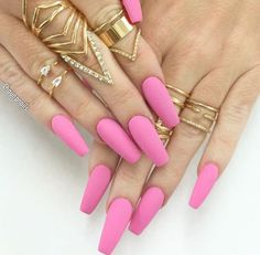 Hot Pink Matte Coffin Nails with Midi Rings