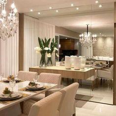Dining Room Mirror Wall, Living Room Mirrors, Dining Room Walls, Dining Room Design, Dinner Room, Floating, Home Living, Small Living Dining, Home Interior Design