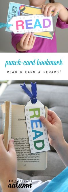 Good idea to encourage and reward reading: free printable punch card bookmarks. Punch a hole each time kids read, and when the card is full they get a reward. Good idea for reluctant readers. reading punch card bookmark to encourage & reward reading Reading Club, Kids Reading, Reading Activities, Card Reading, Teaching Reading, Teaching Kids, Reading Goals, Reading Motivation, Guided Reading