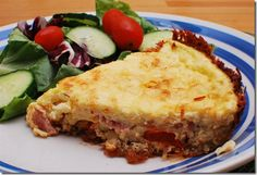 Cheddar Quiche with Red Pepper and Bacon in a Hashbrown Crust.