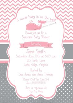 Girl Whale Baby Shower Invitation/Pink and by NoteworthyPrintables