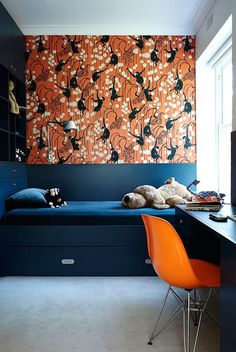 vibrant deco monkey wallpaper + cool blue bedding - cool built-ins for kid's room Beautiful Bedroom Designs, Beautiful Bedrooms, Monkey Wallpaper, Bunk Beds Built In, Trundle Beds, Interior Minimalista, Blue Bedding, Grey Carpet, Interior Inspiration