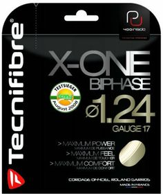 Tecnifibre X-ONE Biphase Tennis String Set by Tecnifibre. $17.00. Tecnifibre X-ONE Biphase Tennis String is Tecnifibre's premium string.  It is designed to give ultimate power and feel for optimum playability and durability.   It gives an extended string life of 20% and delivers increased spin.  X-ONE Biphase joins H2C and NRG micro filaments to give it's powerful and dynamic response.  Used by Roland Garros.   Color-Red.   Sizes-16g and 17g.   39'