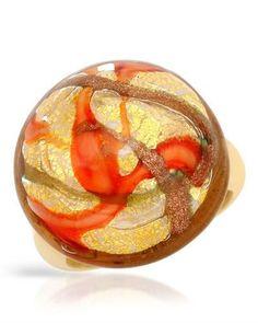 72~NIB VENETIAURUM 14K/925 GP Silver 24k Multicolor Murano Glass Ring - Size 9 #Venetiaurum #Cocktail