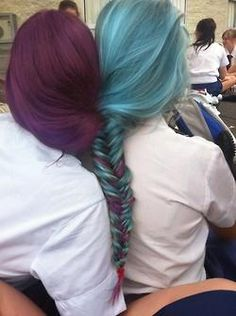 friends purple and blue fishtail - Hairstyles How To Fishtail Hairstyles, Pretty Hairstyles, Dye My Hair, New Hair, Purple Hair, Purple Teal, Purple Unicorn, Deep Purple, Crazy Hair