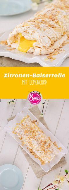 Also mehr Zitrone geht nicht! Zitronen-Baiserrolle mit fruchtigem Lemoncurd! Mhm sooo erfrischend lecker!