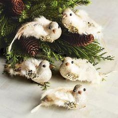 Boxed Set of 5 Gold Bird Clip Ornaments