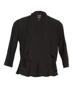 Take a look at this Black Cascade Open Cardigan - Women by Clara Sunwoo on #zulily today!