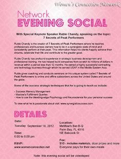 Network Evening Social. Register at http://www.womenconnection.net