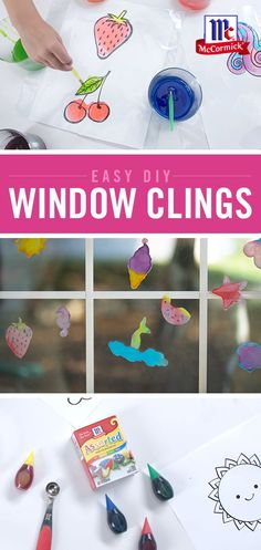 Decorate your windows with simple and colorful DIY window clings. This easy at home craft idea is a great way to squash boredom and allows kids to customize their clings with as many colors as theyd like. What will you create? Fun Craft, Craft Activities For Kids, Cute Crafts, Crafts To Do, Preschool Crafts, Toddler Activities, Projects For Kids, Diy For Kids, Easy Crafts