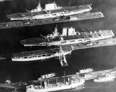 USS Lexington (top), USS Saratoga (middle), and USS Langley (bottom), 1929