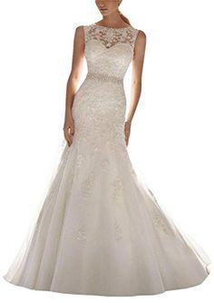 2947714ccc SunnyGirl Latest Sleeveless Lace Appliques Mermaid Bridal Dress Wedding Gown  at… Stylish Women s Fashion