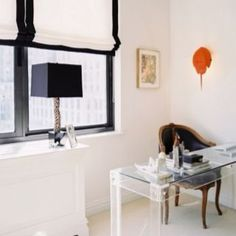 A black-and-white office space with a Lucite desk. home office. home decor and interior decorating ideas. House Blinds, Blinds For Windows, Window Blinds, Room Window, Diy Bamboo, Black And White Office, Black White, Black Window Frames, Black Windows