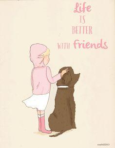 Kunst voor kinderkamer  hond kunst  leven is beter met