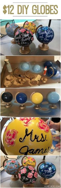 DIY Painted Mini-Globes.