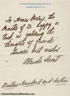 A handwritten letter from Blanche Sweet