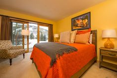 Bedroom 2 of 3 in this luxurious yet cozy 2,934 SF townhome located in the heart of Vail. #vailliving #vailrealestate #vailproperties