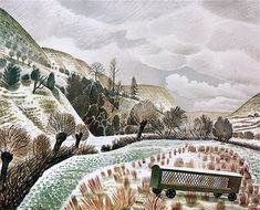 New Year Snow by Eric Ravilious 1938 (Private Collection). Capel-y-ffin, Powys. Landscape Art, Landscape Paintings, Landscapes, Hunters In The Snow, Country Life, Les Oeuvres, Printmaking, Giclee Print, Illustration Art
