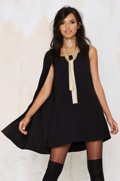 Nasty Gal Fly Girl Asymmetrical Cape Dress #black #spon #nattygal