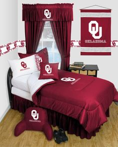 Oklahoma OU Sooners NCAA 11pc LR Queen Comforter/Sheets Deluxe Bed Room Set