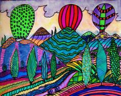 Colorful Folk Art Hot Air Balloons Over Tuscan by DawnCollinsArt, $25.00