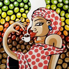 """Saatchi Art Artist Alfredo Lopez; Painting, """"In the meantime I 'll have a coffee"""" #art"""