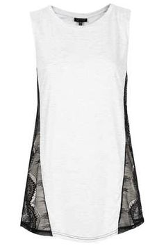 Lace Insert Tank -$40 {diy idea, super easy, upcycle a tee. would be fun with a graphic tee and make it into a bathing suit cover up kind of dress}