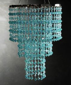Blue Three-Tier Crystal Chandelier