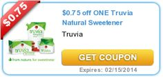 $0.75 off ONE Truvia Natural Sweetener exp 2-15-14