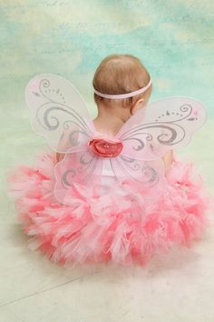 Coral and Pink Fairy Dress Tutu for Baby Girls by StrawberrieRose