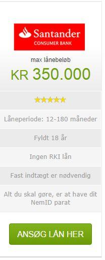 Hvor meget ønsker du at låne? Her på Santander du får svar på din låneansøgning med det samme . Det hele foregår elektronisk, og ansøgningen er ikke bindende.