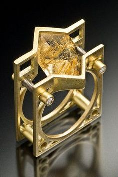 ❤ Love the Geometrics! =)  Ring | Ivan Sagel.  18k gold with rutilated quartz