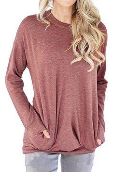 a12ec3519ee RJXDLT Womens Long Sleeve Loose Shirt Crew Lightweight Sweatshirts Pullover  Casual Tops Sweatshirt with Pocket Light