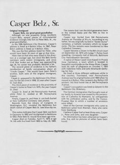 Biographical information on Casper Belz, Sr., the great, great grandfather of Paul H. All Family, Baltimore, Portrait, Headshot Photography, Portrait Paintings, Drawings, Portraits