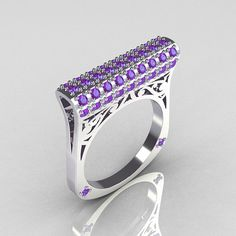 Modern+Persian+10K+White+Gold+073+CTW+Light+Amethist+by+artmasters,+$899.00