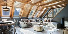 Chalet style attic in Spain by design studio Dröm Living Home Interior Design, Interior Architecture, Chalet Style, Look Retro, Relax, Wood Glass, Modern Design, Spain, Studio
