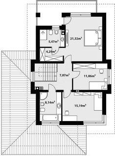 Rzut piętra projektu Kadyks Floor Plans, House, Casual Outfits, Summer, Closet, Home Plans, House Architecture, Casual Clothes, Summer Time