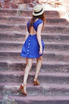 asos royal blue dress, bershka hat