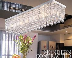 CRYSTOP Clear K9 Crystal Chandelier Dining Room Light Fixtures Polished Chrome Finish Modern Rectangle Chandeliers L31.5'' x W9.8'' x H8.9''