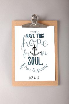Hebrews 619 Anchor Art Print by dearcharliedesign on Etsy, $8.00