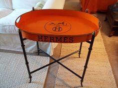 Hermes Paris Logo Tray Table Orange