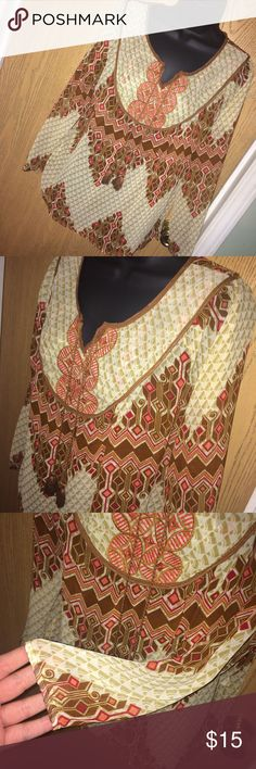 SALE! Aztec print boho chiffon top with tassels Super pretty Aztec print boho chiffon top with tassels and embroidery on the front. Great used condition. Size S. Nine 1 eight  Tops Blouses