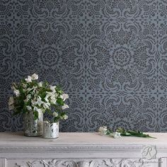Decorate your home decor with romantic Spanish design. The Esperanza Lace Tile Stencil is the perfect lace pattern for tone-on-tone wall stenciling in the dining room or bedroom. - Details - Stencil I