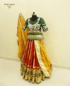 Rajputani Poshak by Kunal Vagela Pattu Saree Blouse Designs, Choli Designs, Designer Bridal Lehenga, Bridal Lehenga Choli, Royal Dresses, Indian Dresses, Indian Attire, Indian Wear, Duppata Style