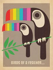 """Mod Rainbow Toucans - """"Birds of a feather..."""" well, you know the rest! This whimsical print features a colorful pair of Toucans rendered in a modern style made popular in the 1950s and 1960s."""