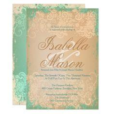 Vintage Lace & Antique Green, Wedding Invitations