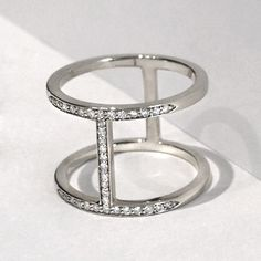 Sterling Silver Pavé Diamond Elijo Ring | Alexa Leigh