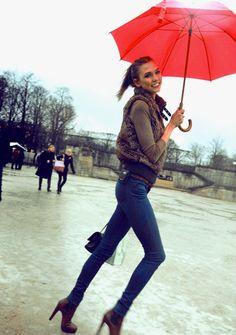 Karlie Kloss in the rain