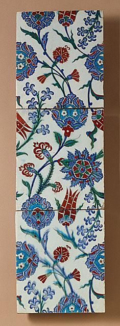 Three Tiles   Origin: Turkey, Iznik   Period: last quarter 16th century   Collection: The Edwin Binney, 3rd, Collection of Turkish Art at the Los Angeles County Museum of Art (M.85.237.84a-c)   Type: Ceramic; Architectural element, Fritware, underglaze painted, Each tile: 4 x 4 in. (10.2 x 10.2 cm)